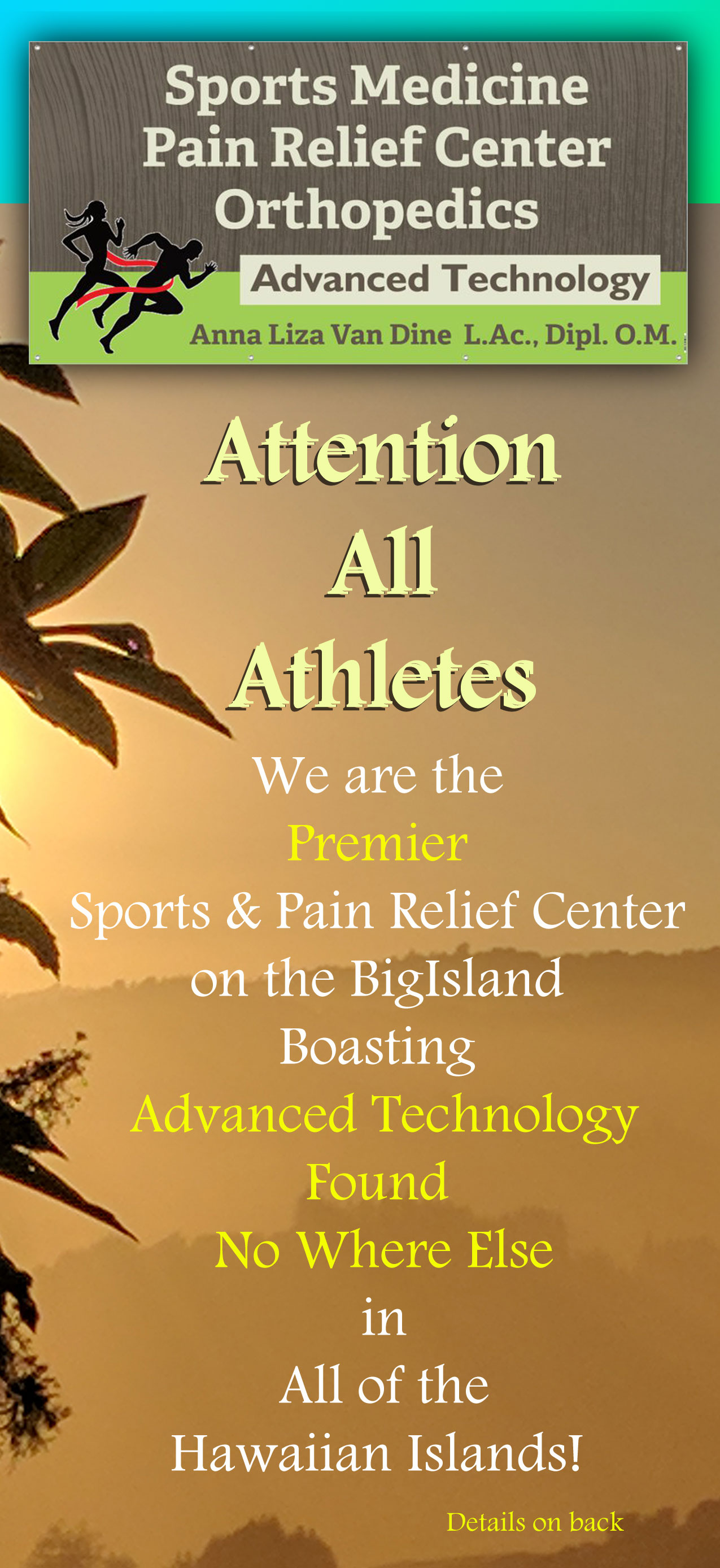 acupuncture, acupuncture kona, liza van dine, anna liza van dine, sports nedivine kona, pain relief center kona, othropedics kona, massage kona, kona hawaii, inflammation relief kona, ironman kona, ironman